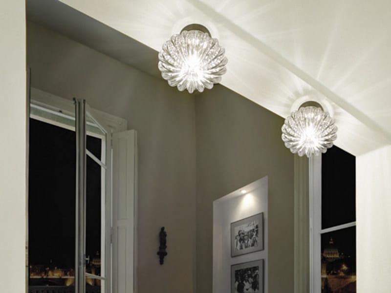 LED direct light Murano glass ceiling lamp DIAMANTE FA by Vetreria Vistosi