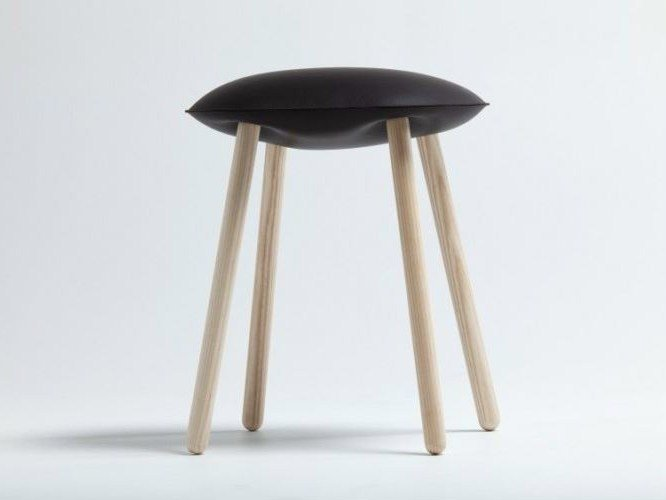 Low upholstered leather stool BLOATED by Covo