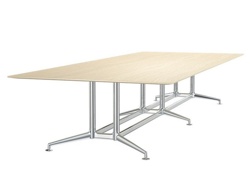 Rectangular aluminium and wood meeting table FINA CONFERENCE | Aluminium and wood meeting table by Brunner