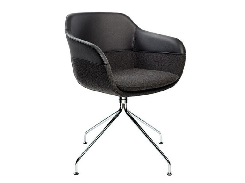Trestle-based fabric chair with armrests CRONA | Trestle-based chair by Brunner