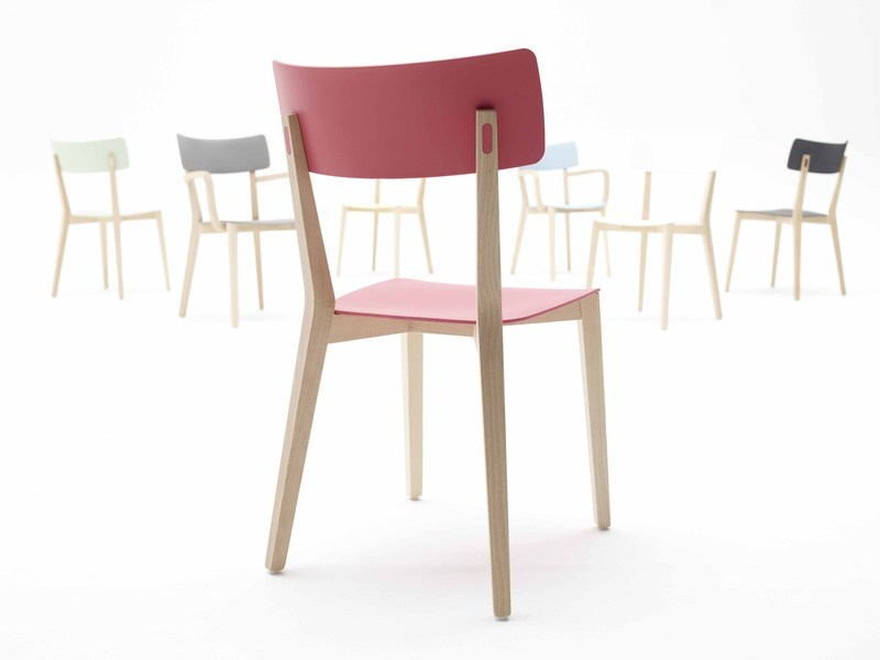 Lacquered laminated wood chair DUE | Wooden chair by Brunner