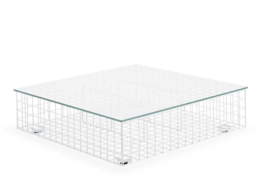 Square steel and glass coffee table GRID | Coffee table by Varaschin
