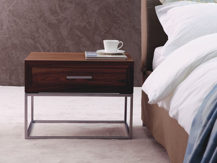 Lacquered bedside table with drawers BT 30.1 by Schramm Werkstätten