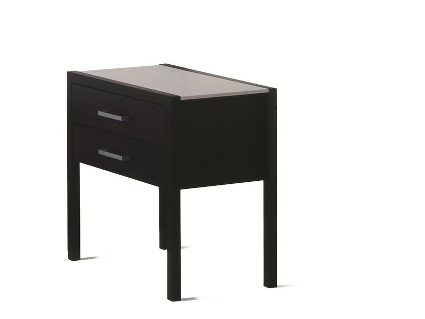 Lacquered wooden bedside table with drawers BT 70.2 by Schramm Werkstätten