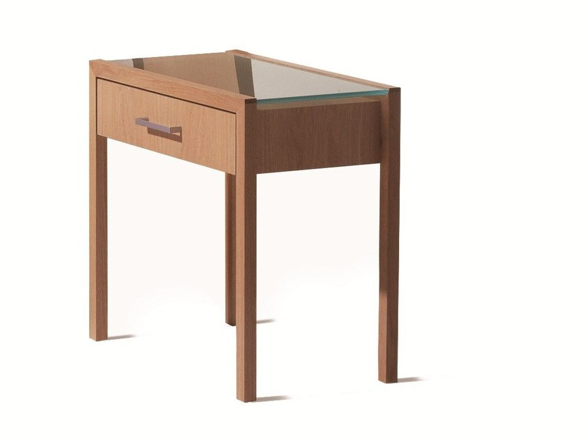 Lacquered wooden bedside table with drawers BT 70.1 by Schramm Werkstätten
