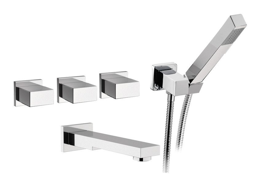 5 hole wall-mounted bathtub tap with hand shower TWIN | 5 hole bathtub tap by Daniel Rubinetterie
