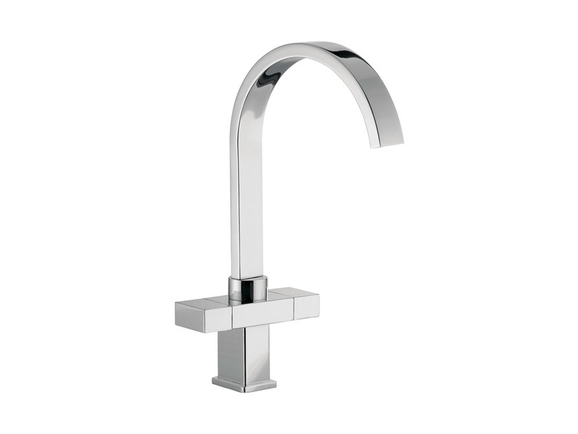 Countertop washbasin mixer with adjustable spout TWIN | 1 hole washbasin mixer by Daniel Rubinetterie