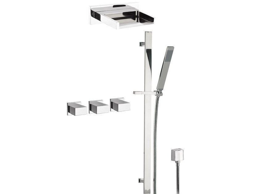 Chromed brass shower wallbar with hand shower with overhead shower TWIN - W4442CA by Daniel Rubinetterie