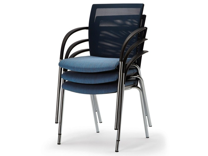 Upholstered stackable chair with armrests OKAY II by König Neurath