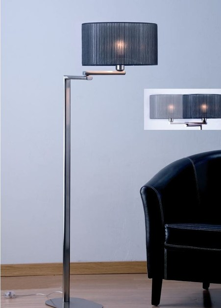 Fabric floor lamp with swing arm HOTEL P by luxcambra