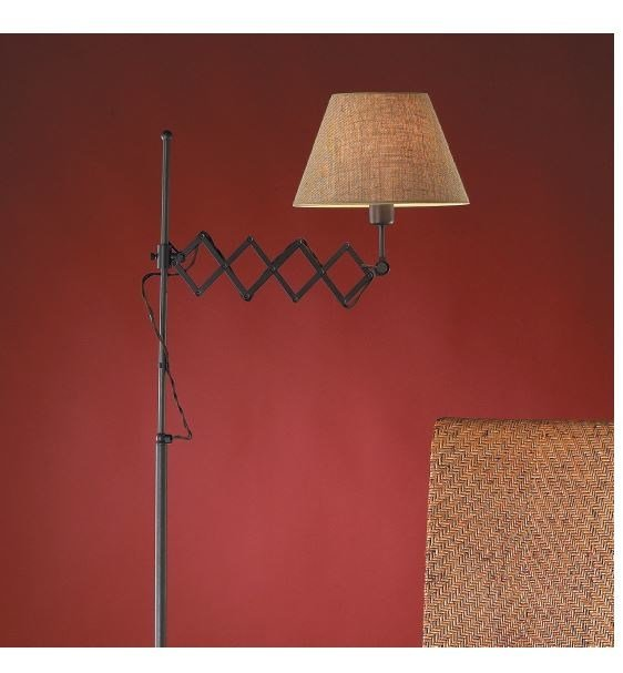 Fabric floor lamp with swing arm LONDON P by luxcambra