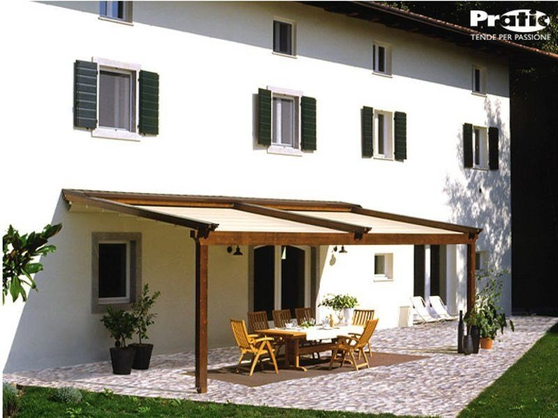Wooden pergola with sliding cover TECNIC WOOD by PRATIC F.lli ORIOLI