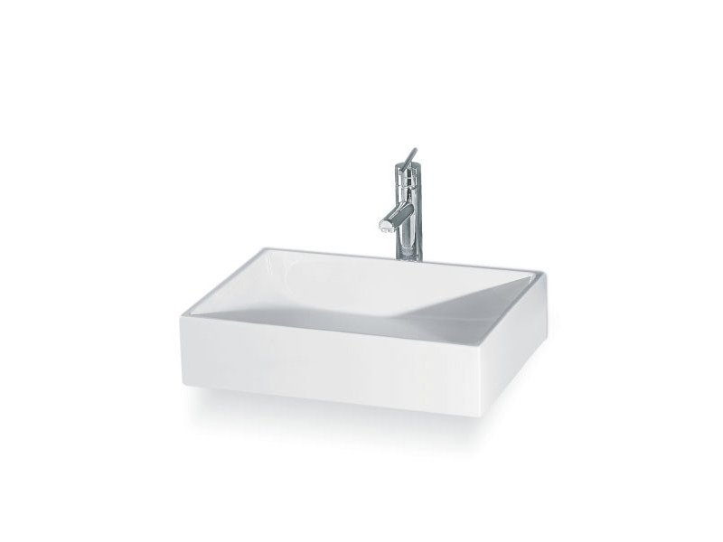 Countertop ceramic washbasin THIN RETTANGOLARE by A. e T. Italia