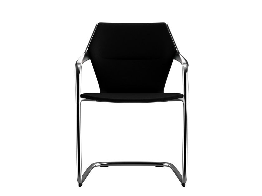 Cantilever ergonomic leather chair Chair with armrests by Brunner