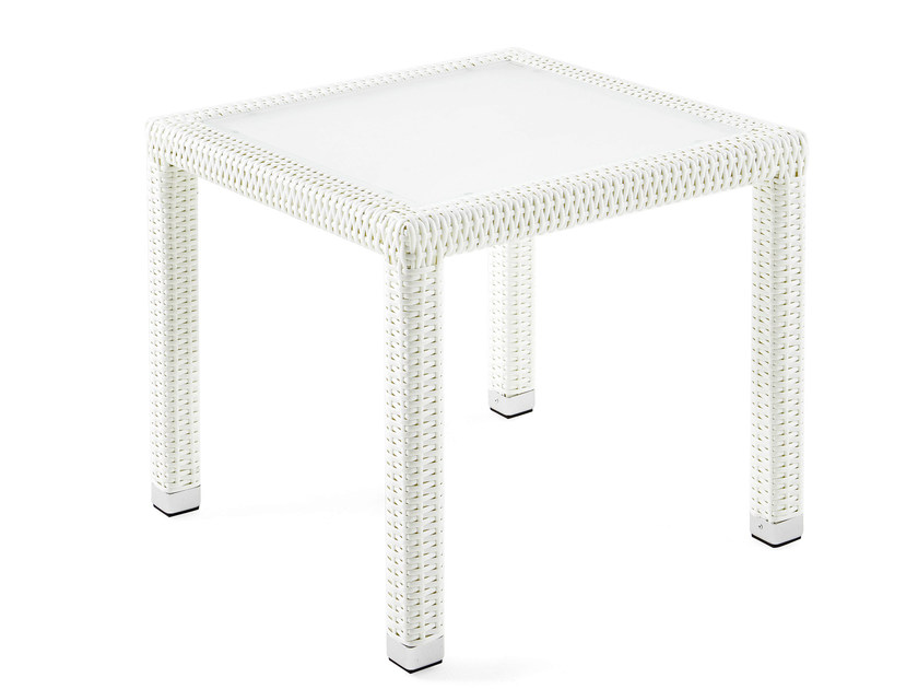 Square coffee table with synthetic fiber weaving, glass top LOTUS | Square coffee table by Varaschin