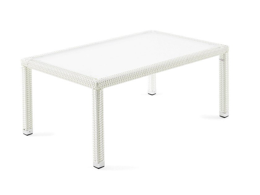 Rectangular coffee table with synthetic weawing and glass LOTUS | Rectangular coffee table by Varaschin