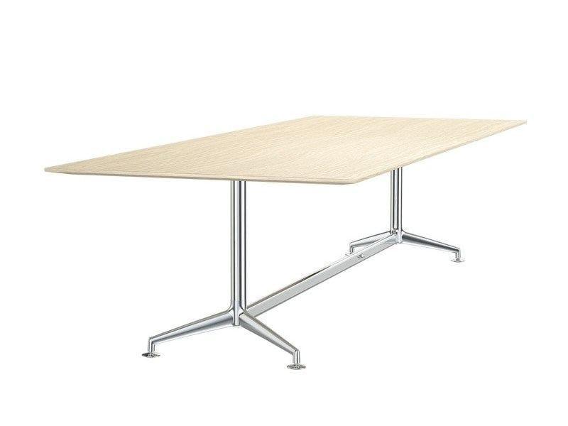 Rectangular aluminium and wood meeting table FINA CONFERENCE | Rectangular meeting table by Brunner