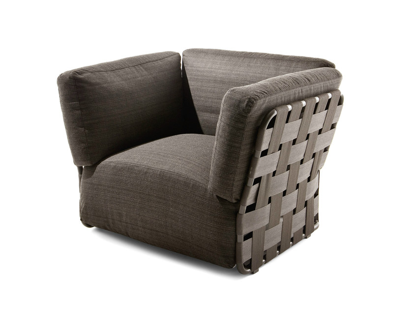 Fabric garden armchair with armrests OBI   Garden armchair by Varaschin