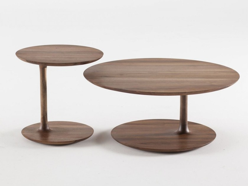 Low round wooden coffee table BLOOP by Artisan
