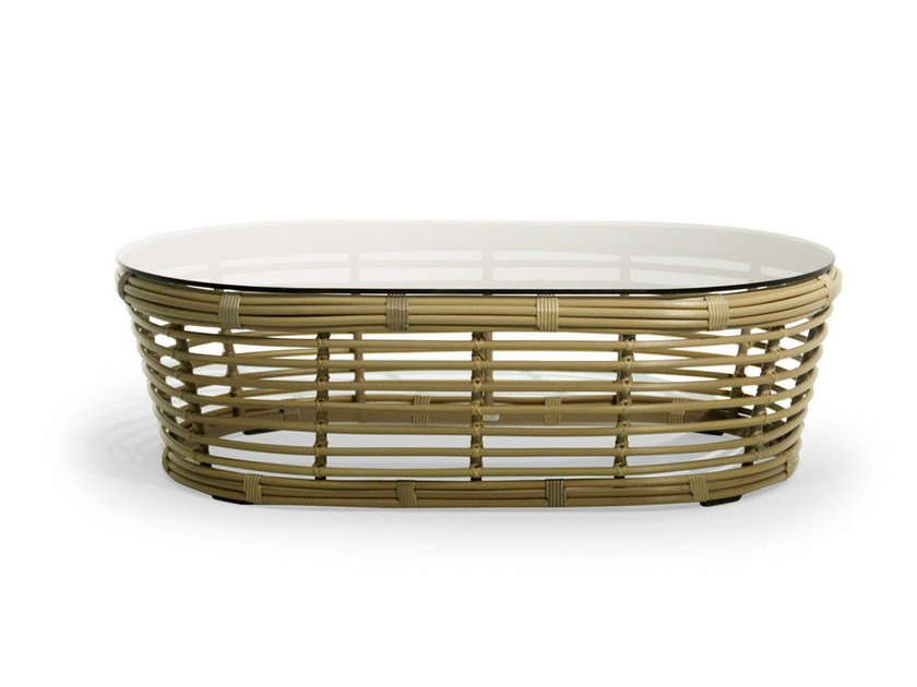 Oval coffee table with synthetic fiber weaving and glass top TONKINO | Coffee table by Varaschin