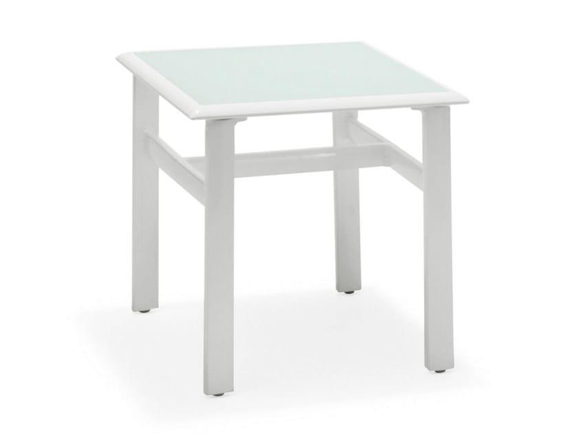 Tavolino quadrato in acciaio e vetro VICTOR | Tavolino in acciaio e vetro by Varaschin