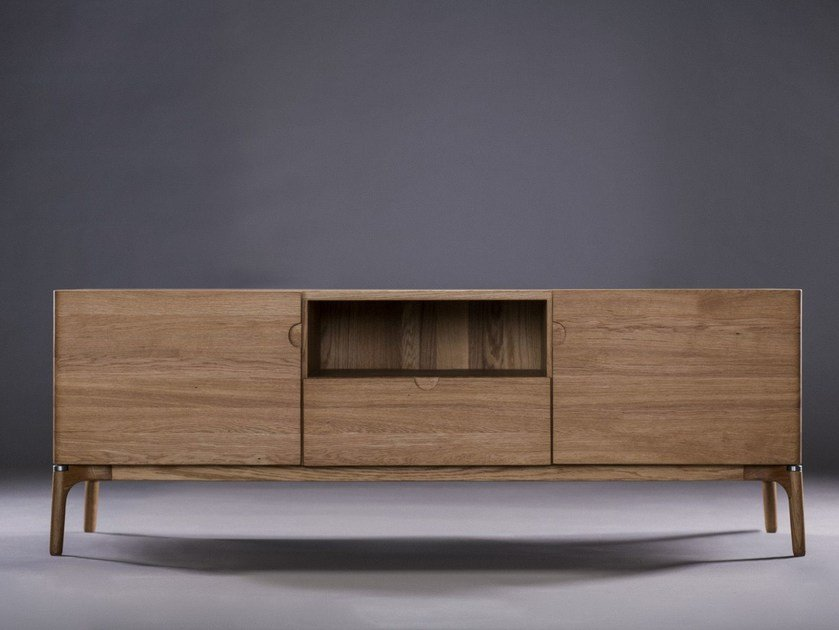 Wooden sideboard with doors with drawers NARU | Sideboard by Artisan