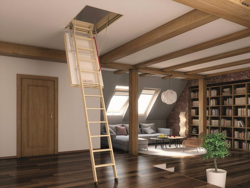 Wooden Retractable stair LWT by FAKRO