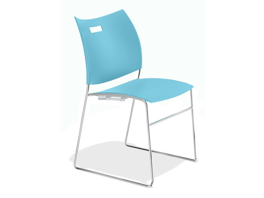 Sled base plastic chair CARVER 1258-00 by Casala