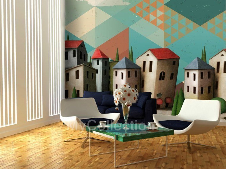 Landscape nonwoven wallpaper HOUSES by MyCollection.it