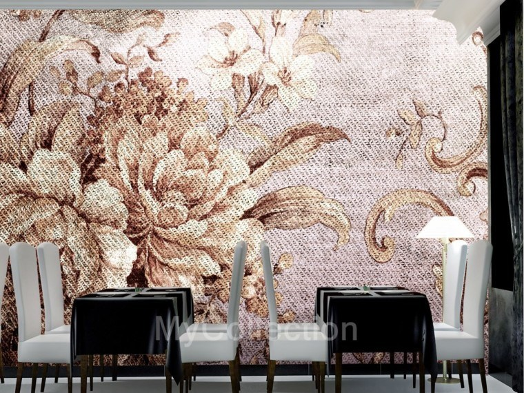 Wallpaper with floral pattern DAMASCATO by MyCollection.it