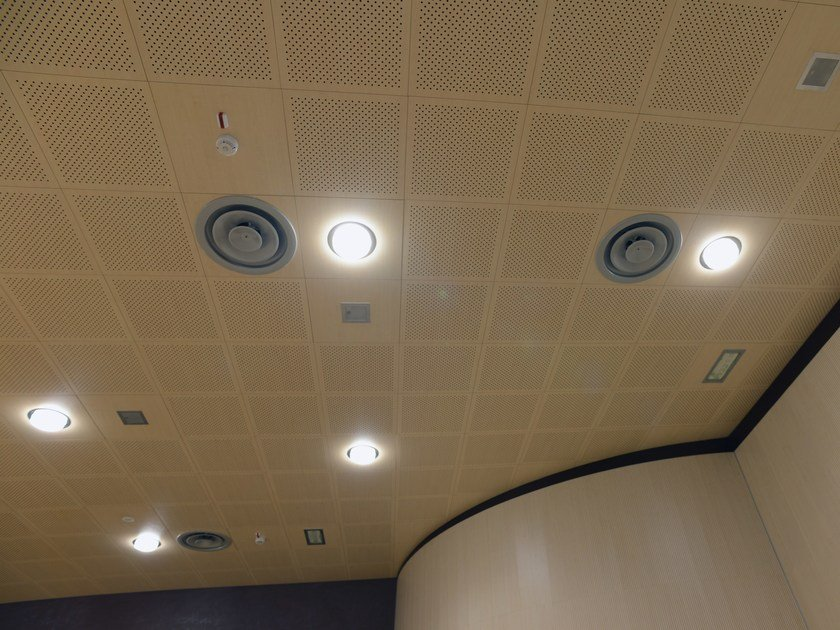 Sound absorbing MDF ceiling tiles WOOD SHADE HIDE-IN by ITP
