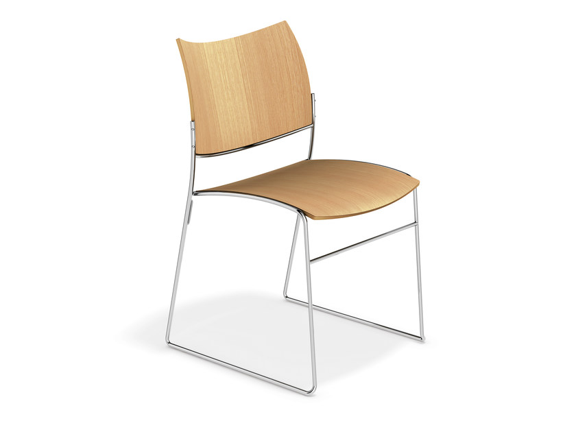 Sled base wooden chair CURVY | Wooden chair by Casala
