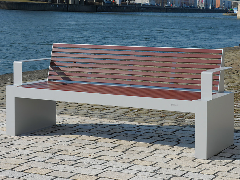 Stainless steel and PET Bench with back COMFONY 40   Bench with armrests by BENKERT BANKE