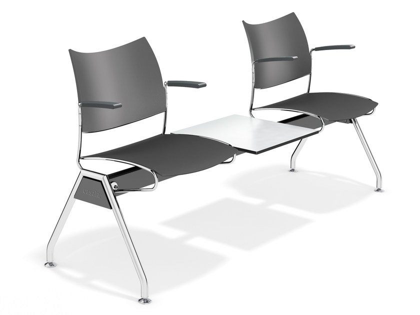 Plastic beam seating with armrests CURVY TRAVERSE | Beam seating by Casala