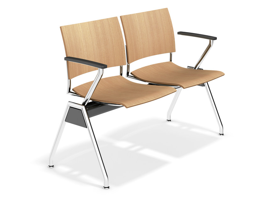Wooden beam seating with armrests FENIKS TRAVERSE | Wooden beam seating by Casala