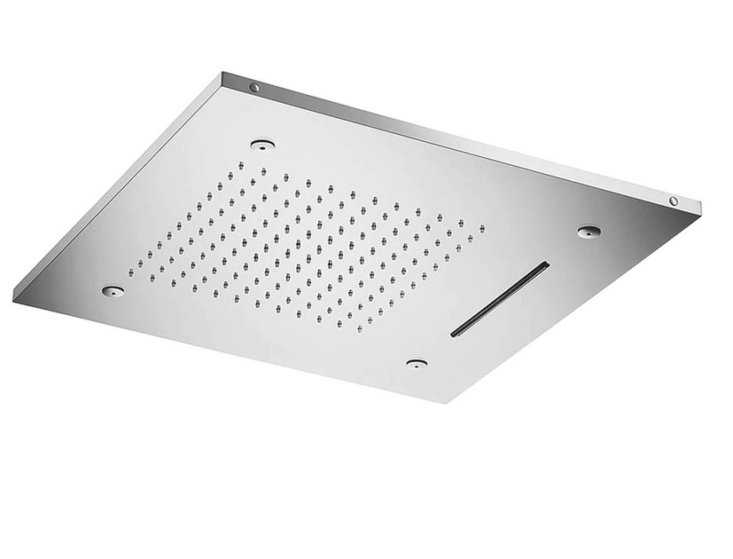 Ceiling mounted 3-spray stainless steel rain shower VELA COLOR LED 09345 by MINA