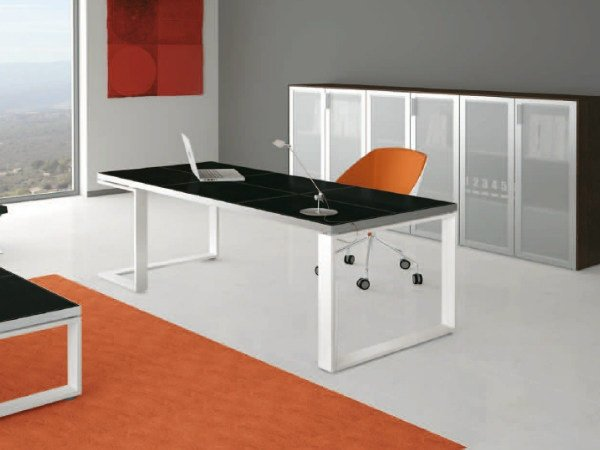 Rectangular wooden office desk ARCHIMEDE | Rectangular office desk by Castellani.it