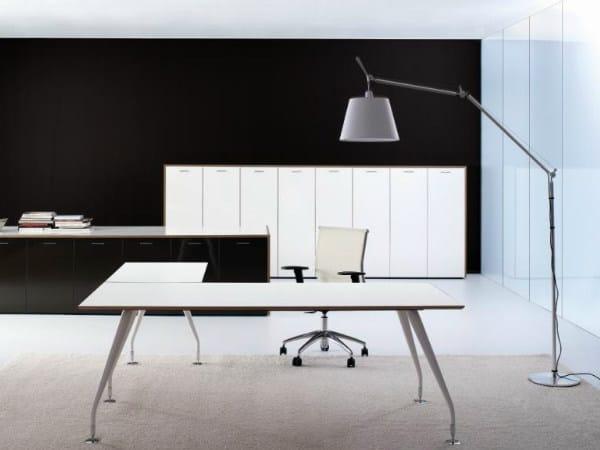 L-shaped wooden office desk MIRÒ | Office desk by Castellani.it