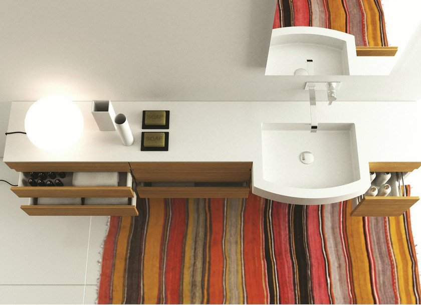 Corian® washbasin with integrated countertop REGULAR SYSTEM SD by MOMA Design