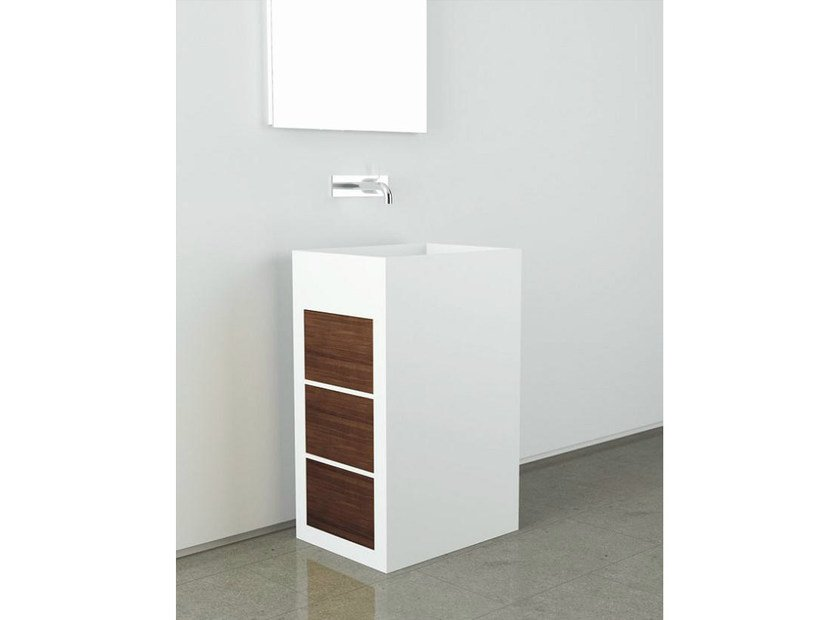 Freestanding Corian® washbasin with drawers TOWER CUBE 2 by MOMA Design