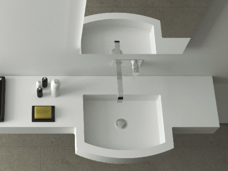 Corian® washbasin with integrated countertop REGULAR SYSTEM by MOMA Design