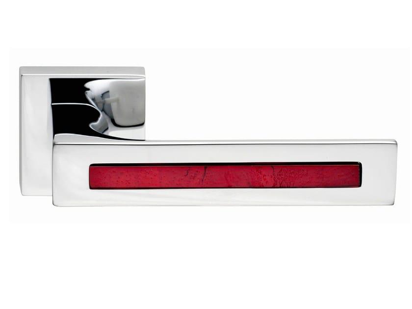 Zamak door handle on rose polished chrome TUKE GLASS | Door handle by Frascio