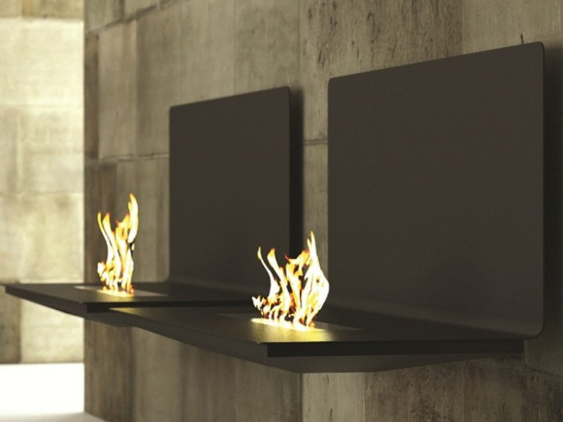 Bioethanol wall-mounted fireplace HOP by MOMA Design