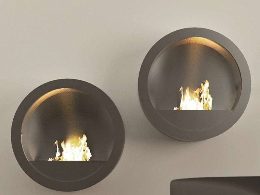Bioethanol wall-mounted fireplace RONDO by MOMA Design