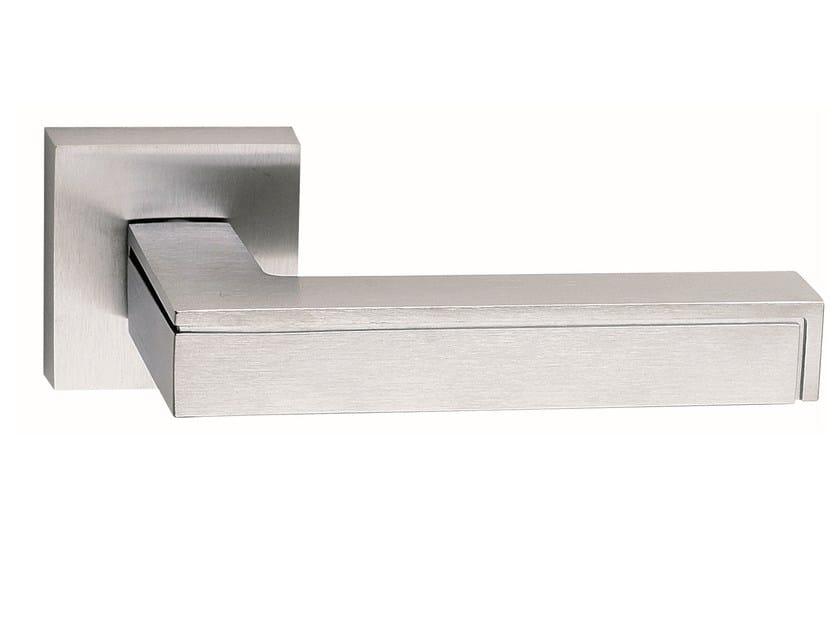 Zamak door handle on rose satin chrome PINAX | Door handle by Frascio