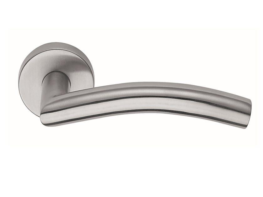 Stainless steel door handle on rose OMEGA   Door handle by Frascio