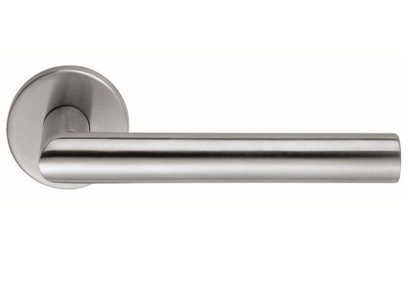 Stainless steel door handle on rose LUCIA | Door handle by Frascio