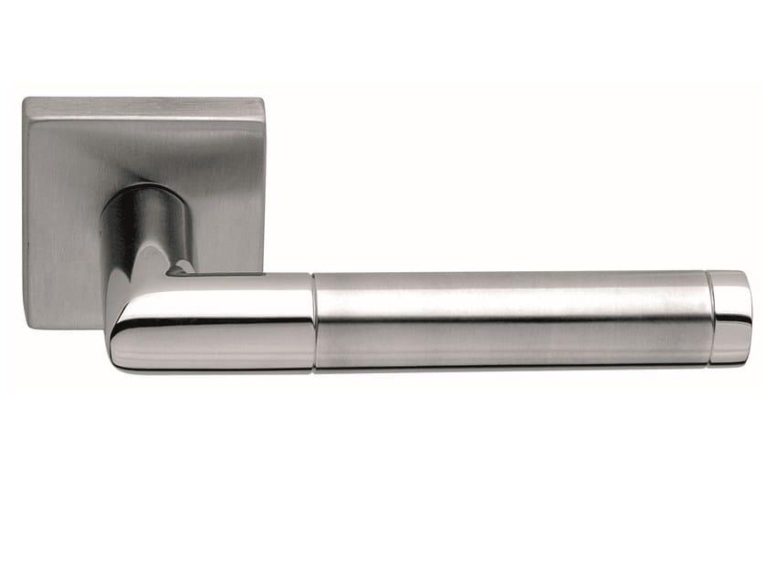 Stainless steel door handle on rose LOREDANA SQUARE | Door handle by Frascio