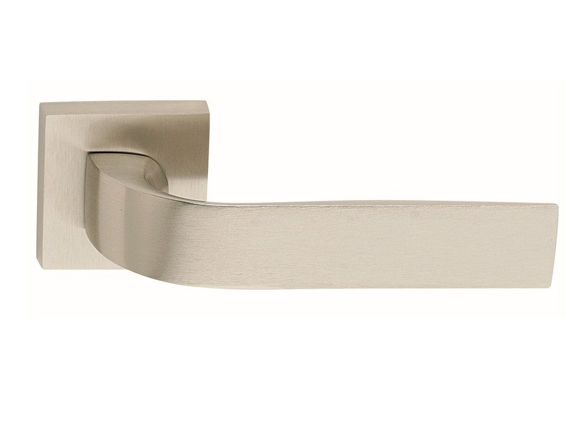 Zamak door handle on rose satin nickel EIDOS | Door handle by Frascio