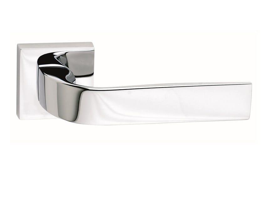 Zamak door handle on rose polished chrome EIDOS   Door handle by Frascio